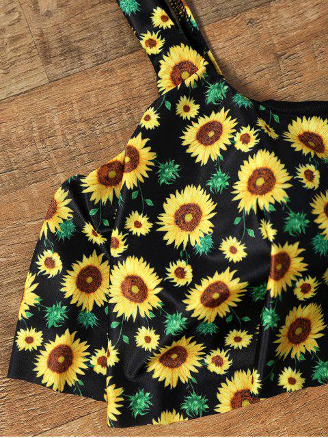 shops Flounce Cropped Top Sunflower Bikini Set - COLORMIX S Mobile