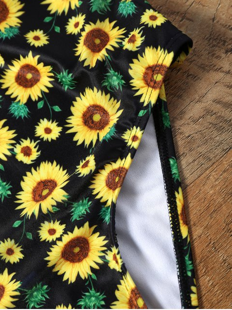 affordable Sunflower Print Backless Plunging Neckline Swimsuit - COLORMIX XL Mobile
