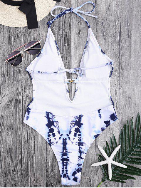 Monokini découpé haut à couleur Tie Dye à col plongeant - Bleu et Blanc S Mobile