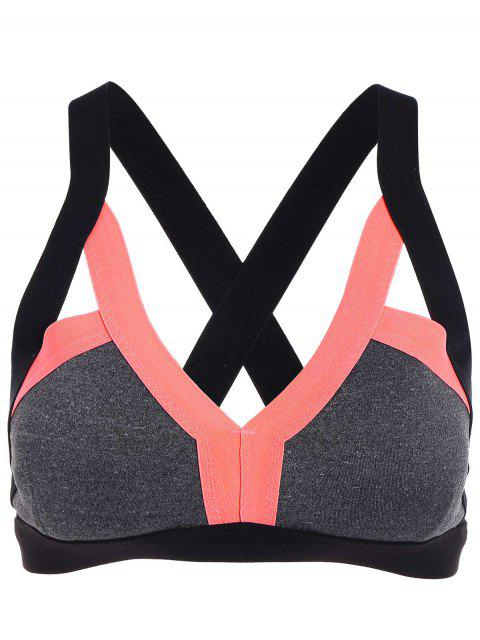 best Padded Cut Out Sports Bra - ORANGE M Mobile