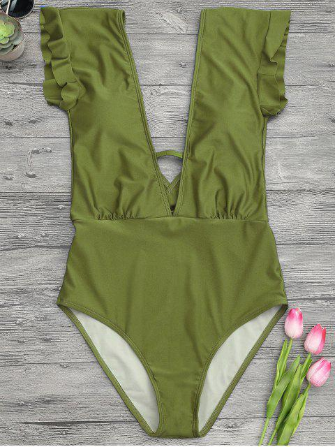 affordable Frilled Plunge One Piece Swimsuit - GREEN L Mobile
