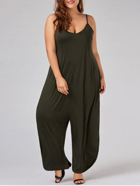 women Plus Size Low Cut Spaghetti Strap Baggy Jumpsuit - ARMY GREEN 5XL Mobile