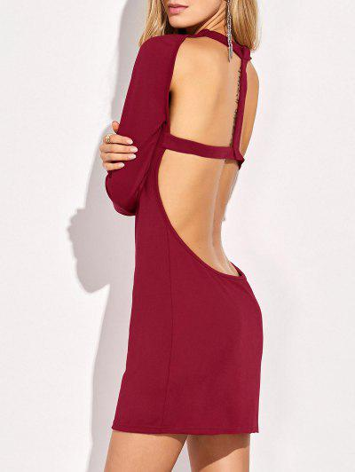 Long Sleeve Backless Bodycon Dress - Red L