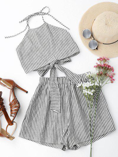 Halter Striped Two Piece Suit - Stripe S