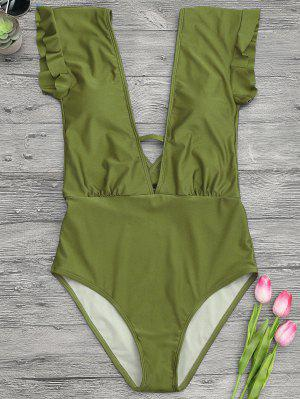 Frilled Plunge One Piece Swimsuit - Green L