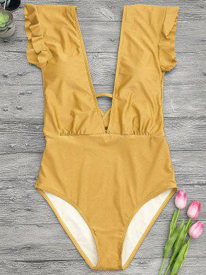 Frilled Plunge One Piece Swimsuit - Ginger M