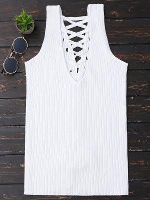 Ribbed V Neck Back Lace Up Tank Top - White