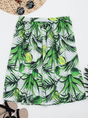 Leaves Print Knee Length Flare Skirt - Green M