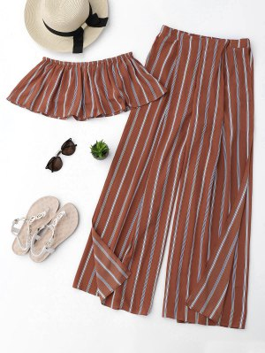 Striped Tube Crop Top And High Slit Pants - Brick-red M