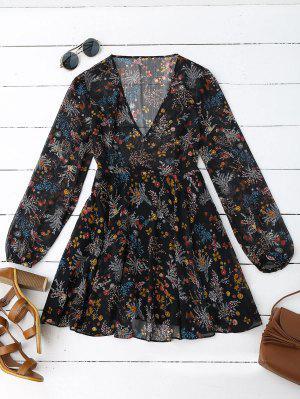 Semi Sheer Floral Print Chiffon Dress - Floral M