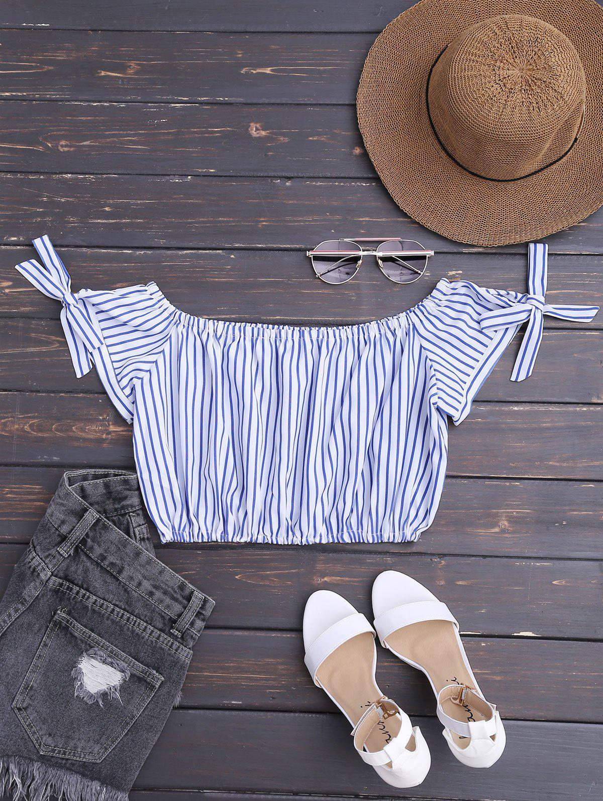 Aus der Schulter Striped Crop Bluse