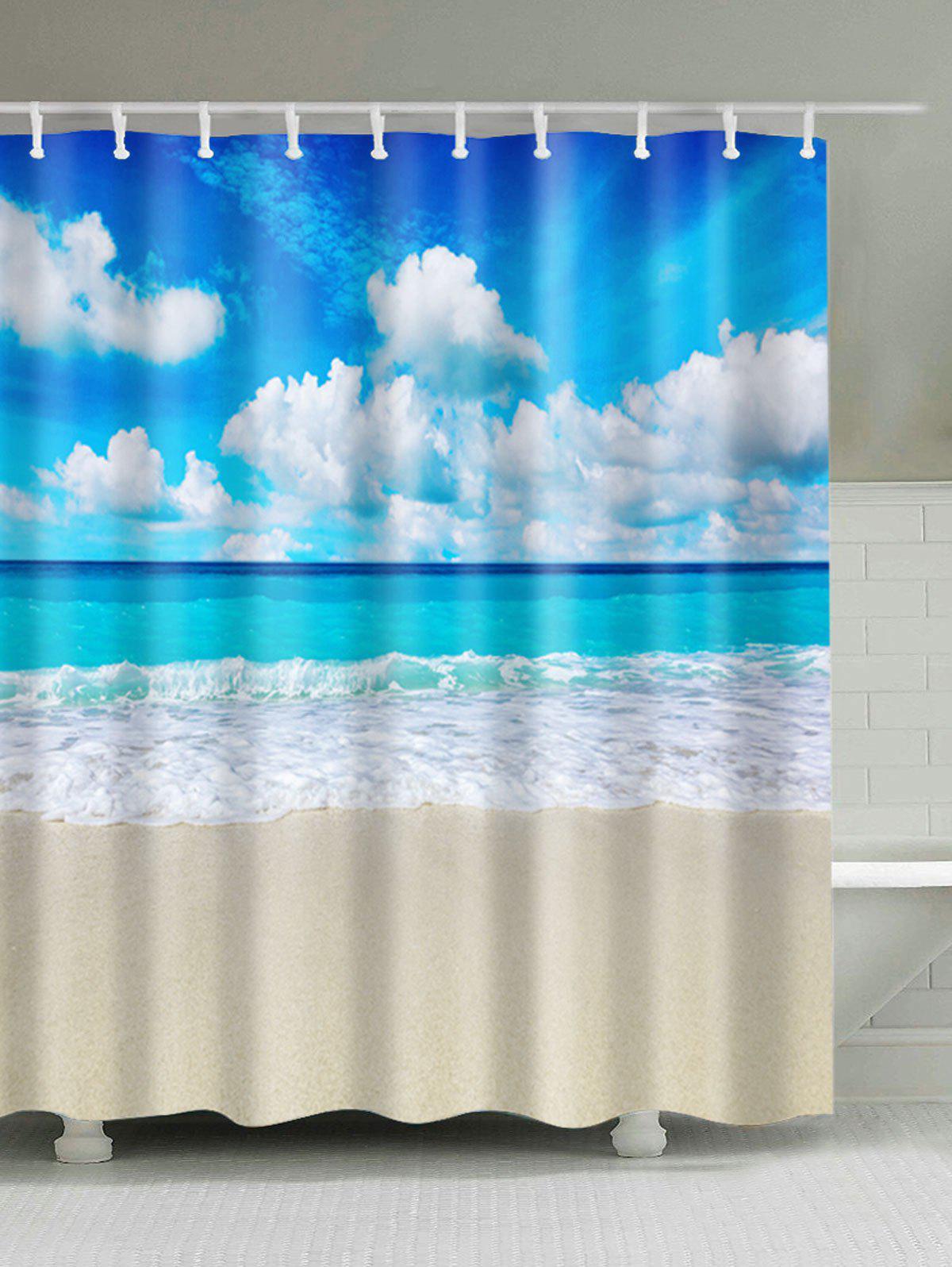 Extra Long Beach Scenery Bath Decor Shower Curtain