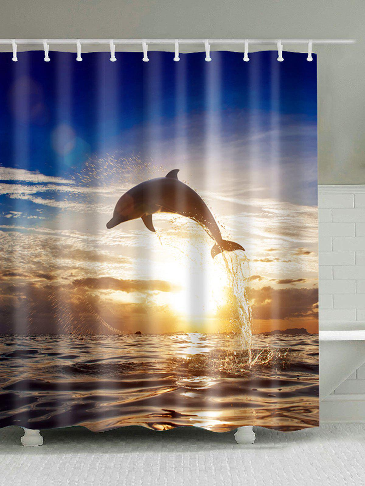Sunset Dolphin Fabric Shower Curtain For Bathroom