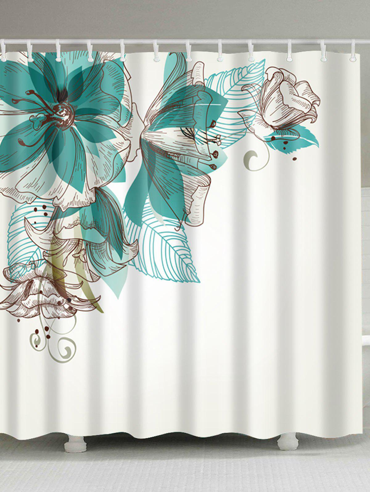 Concise Floral Fabric Extra Long Shower Curtain