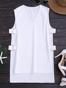 Ribbed Ring High Low Tank Top - White L