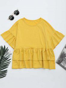 Camiseta De Hebilla Con Volantes En Cuello Redondo - Amarillo M