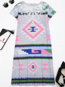 Vestido De Desplazamiento De Impresión Geométrica De Panel De Encaje - Multi M