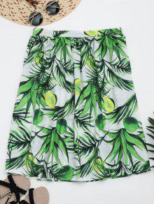 Leaves Print Knee Length Flare Skirt - Green M