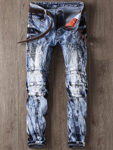جينز مصبوغ التعادل ممزق ضيق الساق - أزرق 30