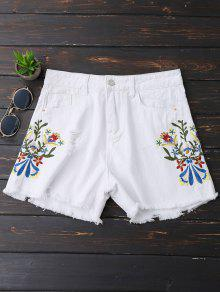 Embroidered Frayed Hem Ripped Denim Shorts - White Xl