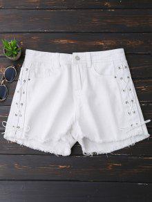 Frayed Hem Side Lace Up Denim Shorts - White Xl