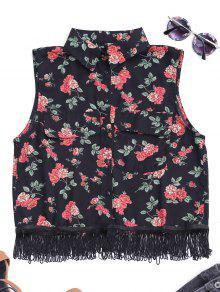 Fringes Sleeveless Floral Shirt - Black L