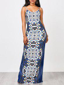 Geo Imprimir Maxi Slip Dress - Multicolor S