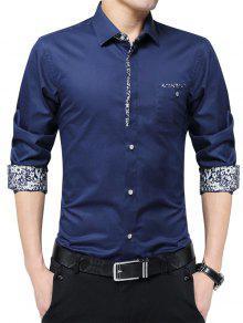 الأزهار طباعة جيب يتأهل قميص - ازرق غامق Xl