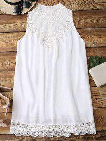 Sleeveless Scalloped Lace Panel Shift Dress - White S