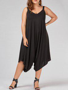 Plus Size V Neck Baggy Capri Jumpsuit - Black 4xl