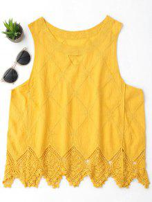 Cotton Blend Lace Geometric Scalloped Tank Top - Yellow