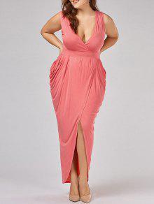 فستان سهرة مطوي الحجم الكبير كهنوتي ماكسي - Orangepink 5xl