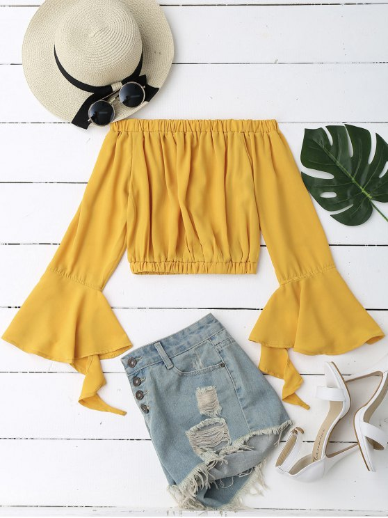Bell Sleeve Off Shoulder Cropped Blouse - Yellow S