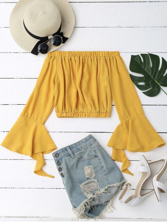 Manga de la campana del hombro Blusa cosechada - Amarillo S