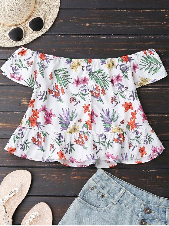 Blusa Floral con Botones de Hombos al Aire - Blanco S
