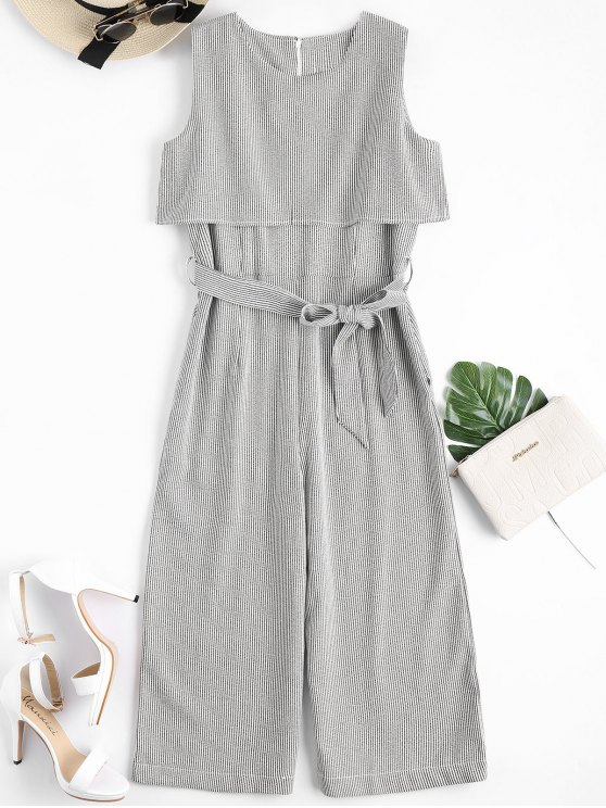trendy Sleeveless Overlay Belted Striped Jumpsuit - STRIPE M