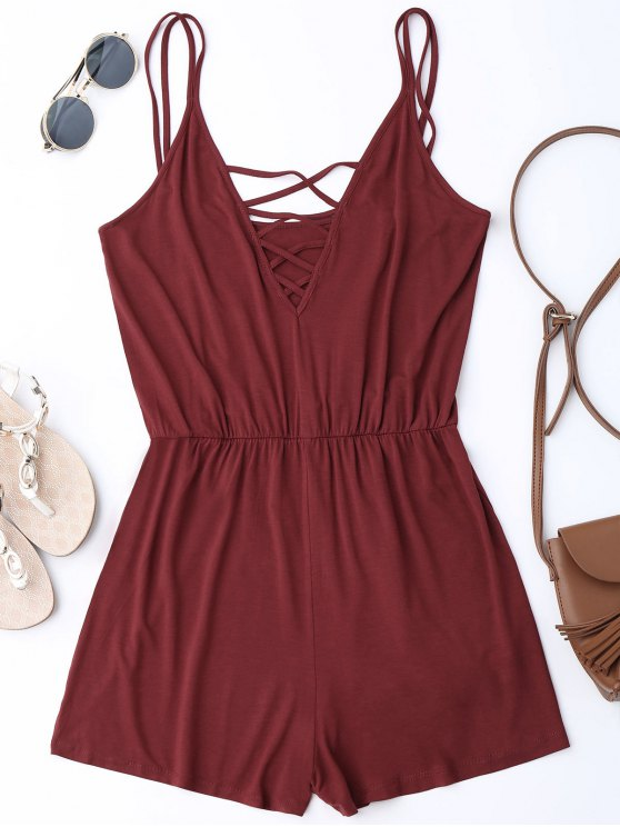 Strappy Criss Cross Cotton Romper - Vino rosso L