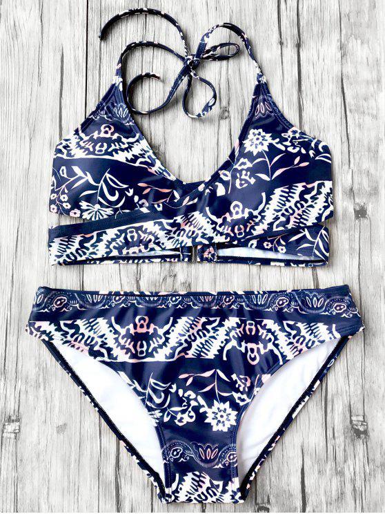 fancy Halter Printed Wrap Bikini Set - BLUE L