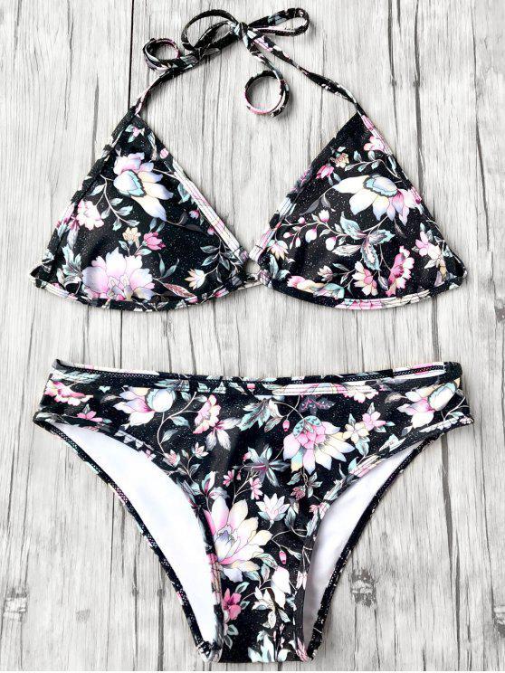 Top de bikini y pantalón de bikini floral plunge halter - Negro L