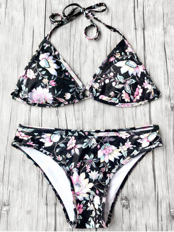 Halter Plunge Floral Bikini Top and Bottoms - Noir M