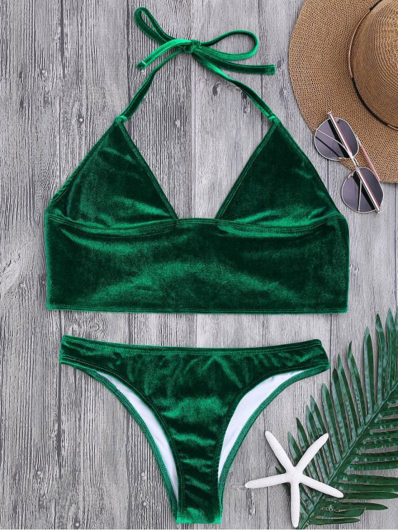 Top de bikini con palangre y pantalones de pierna alta - Verde XL