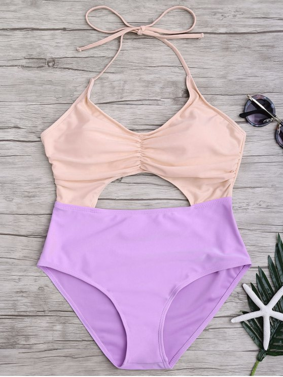 fashion Ruched Color Block Cutout One Piece Swimsuit - PINK AND PURPLE L
