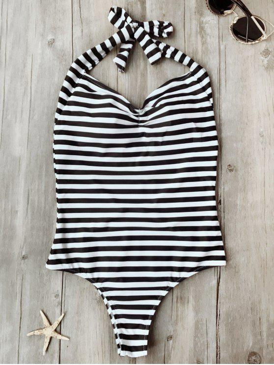 Traje de baño de una pieza acolchado rayado de espalda abierta - Blanco y Negro L