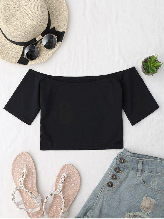 buy Cropped Cotton Off Shoulder Top - BLACK ONE SIZE