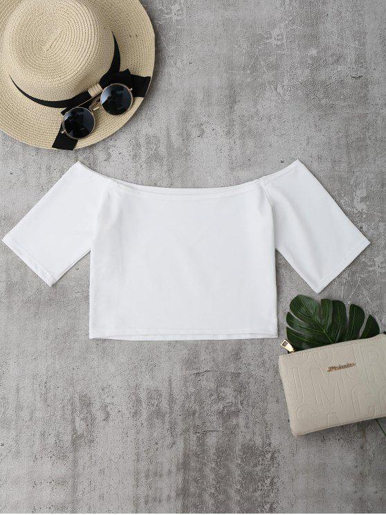 womens Cropped Cotton Off Shoulder Top - WHITE ONE SIZE