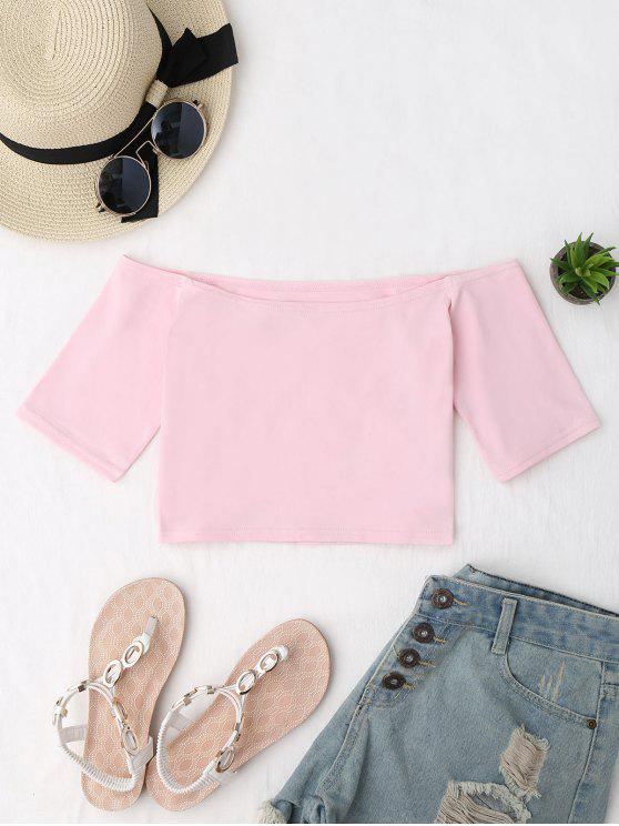 women Cropped Cotton Off Shoulder Top - PINK ONE SIZE