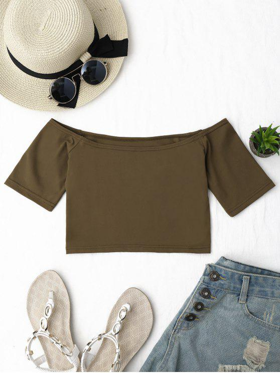 ladies Cropped Cotton Off Shoulder Top - COFFEE ONE SIZE