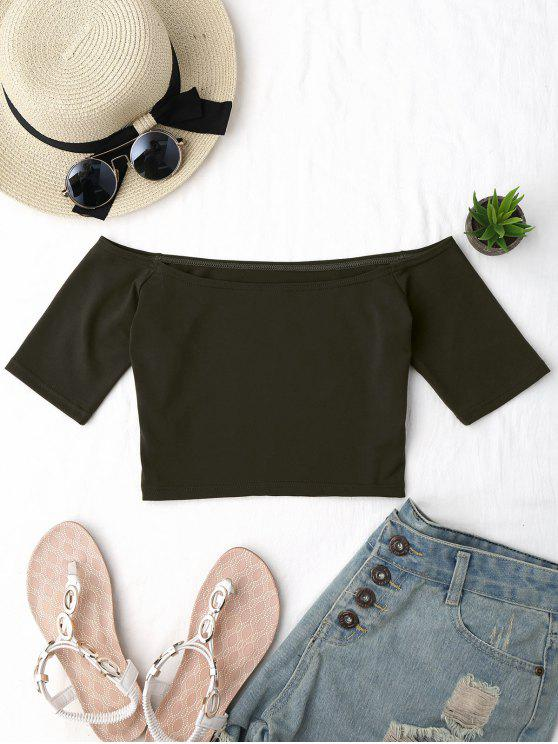 online Cropped Cotton Off Shoulder Top - ARMY GREEN ONE SIZE
