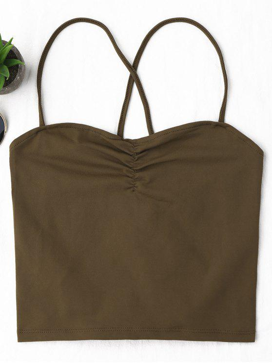 latest Ruched Cropped Lace Up Tank Top - COFFEE M