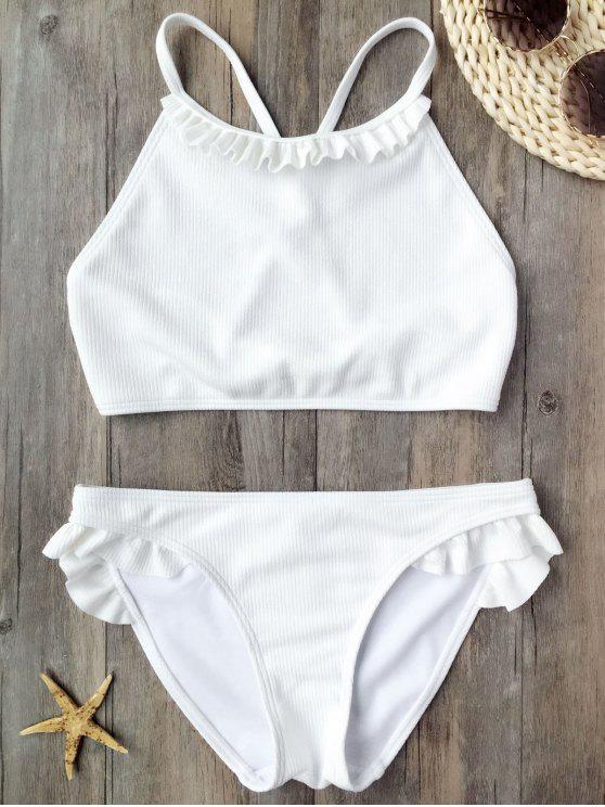 shop Ruffles Rib Textured Bralette Bikini - WHITE S